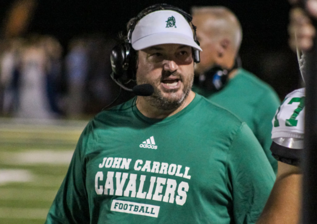 John Carroll head coach Logan Colafrancisco